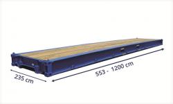 """Grafika przedstawiająca standardowe wymiary kontenera typu """"platforma"""""""