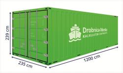 Kontenery morskie. Grafika przedstawiająca podstawowe wymiary kontenera czterdziestostopowego DV.