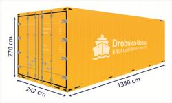 Kontenery morskie. Grafika przedstawiająca standardowe wymiary kontenera 45' HC PW.