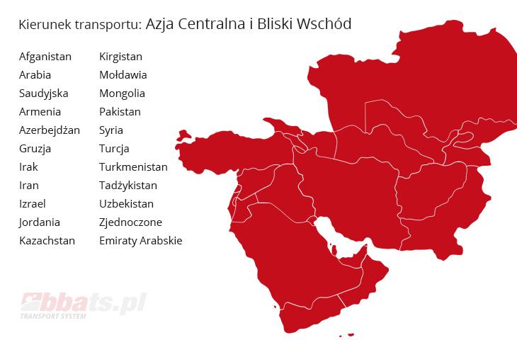 BBA Transport System. Kierunek Azja Centralna i Bliski Wschód: Afganistan, Arabia Saudyjska, Armenia, Azerbejdżan, Gruzja, Irak, Iran, Izrael, Jordania, Kazachstan, Kirgistan, Mołdawii, Mongolia, Pakistan, Syria, Turcja, Turkmenistan, Tadżykistan, Uzbekistan, Zjednoczone Emiraty Arabskie.