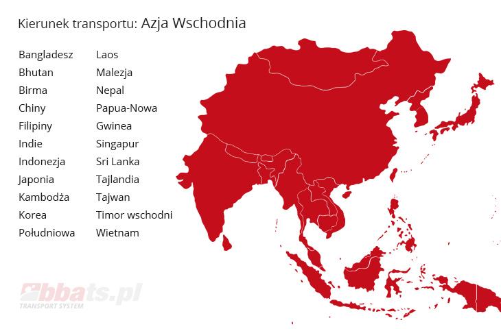 BBA Transport System Kierunek Transportu: Bangladesz, Bhutan, Birma, Chiny, Filipiny, Indie, Indonezja, Japonia, Kambodża, Korea Południowa, Laos, Malezja, Nepal, Papua-Nowa Gwinea, Singapur, Sri Lanka, Tajlandia, Tajwan, Timor wschodni, Wietnam