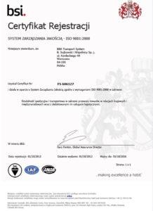BBA Transport Certyfikat BSI