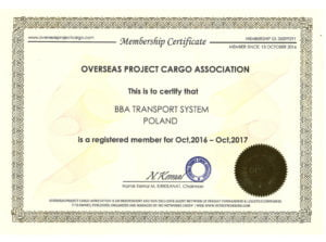 BBA Transport Certyfikat OPCA