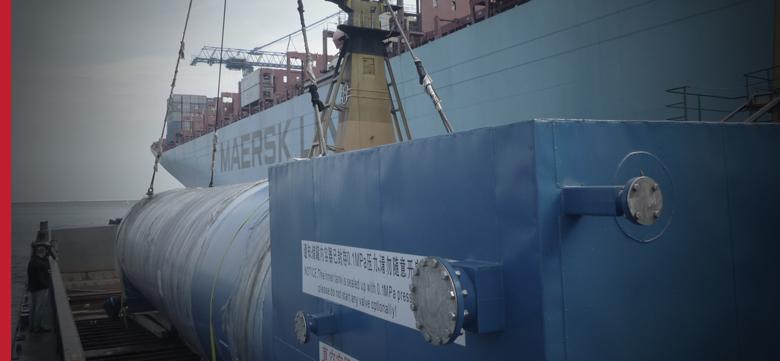 Transport ponadgabarytowy morski, ładunki OOG na statkach kontenerowych, ro-ro, heavy-lift – zbiornik z Chin