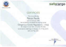 Certyfikat niezbędny do wykonania transportu ładunków niebezpiecznych