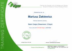 Certyfikat Mariusz Żakiewicz IATA Basic Cargo