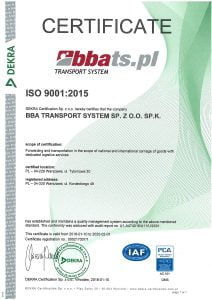 BBA Transport System Certyfikat ISO