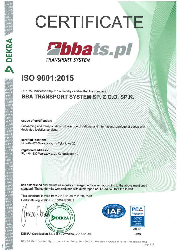 BBA Transport System ISO9001:2015