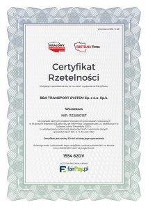 BBA Transport System Certyfikat Rzetelna Firma