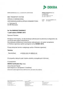 Certyfikat ISO9001:2015 BBA Transport System