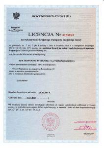 BBA TRansport System Licencja na wykonywanie krajowego transportu drogowego rzeczy