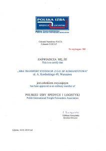 BBA Transport System Członkiem Polskiej Izby Spedycji Logistyki PISIL