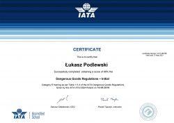Łukasz Podlewski, certyfikat IATA