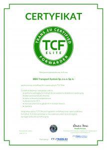 Certyfikat TCF dla BBA Transport System