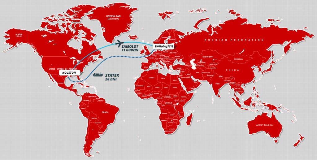 Porównanie między transportem morskim a lotniczym.