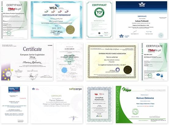 BBA Transport System Spedycja Certyfikaty