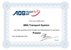 AOG Certificate for BBA Transport System Poland 2020