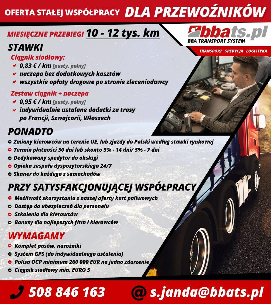Oferta stałej współpracy dla przewoźników