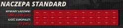Przesyłki paletowe. Infografika: naczepa samochodowa standardowa wypełniona trzydziestoma trzema paletami.