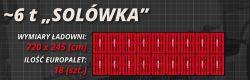 """Przesyłki paletowe. Infografika: 18 palet rozmieszczonych w ładowni samochodu typu """"Solówka"""" o ładowności do 6 ton."""