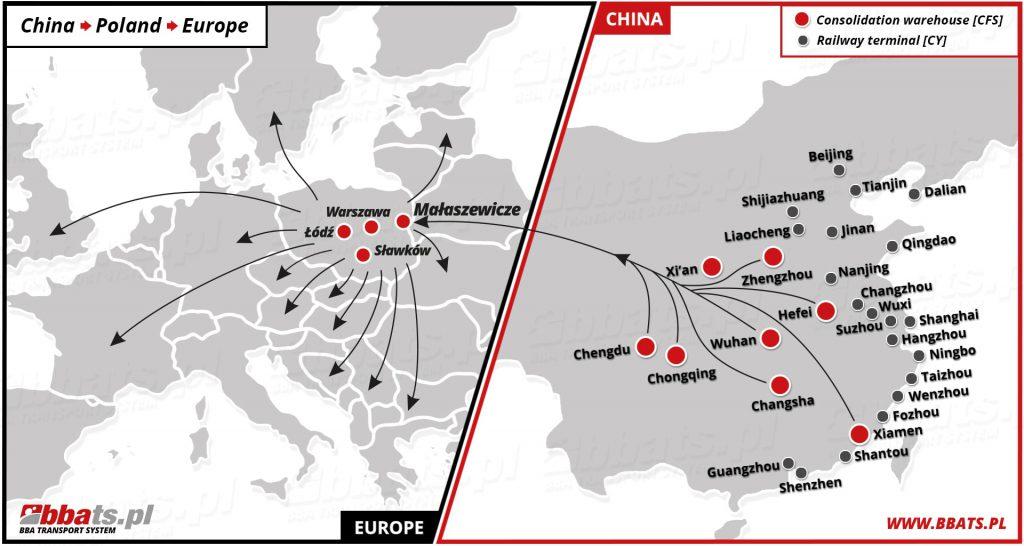 Spedycja kolejowa Warszawa. Uproszczona trasa przejazdu pociągów z Chin do Europy.