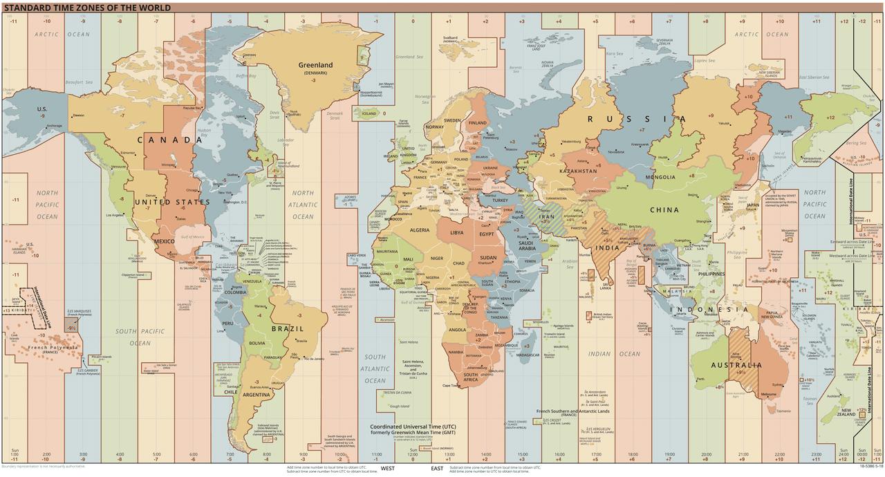 Czas USA. Strefy czasowe na świecie zaznaczone kolorowymi pasami wzdłuż południków.