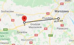 Centralny Port Komunikacyjny. Linia ukazująca odległość pomiędzy CPK a Lotniskiem Chopina.