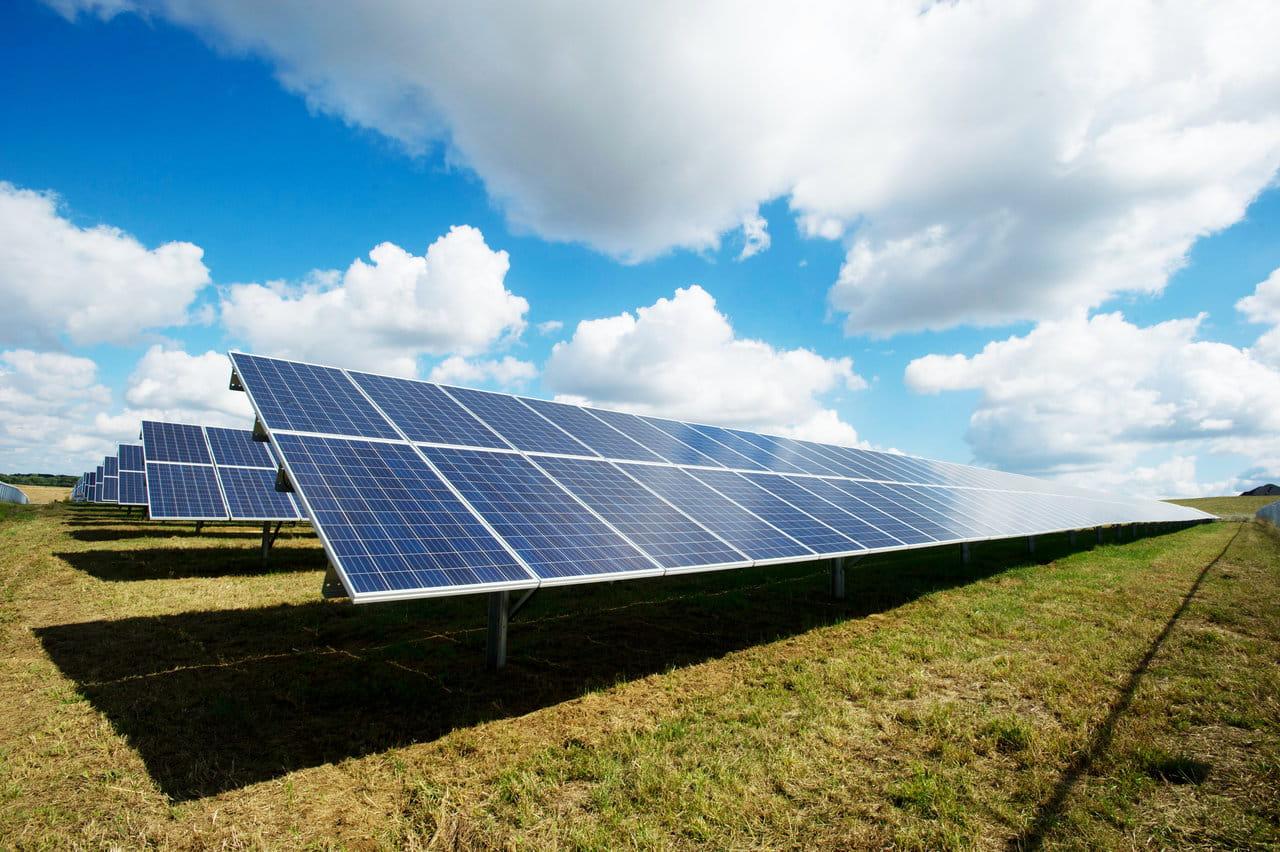 Import paneli fotowoltaicznych z Chin. Panele rozstawione na specjalnych podporach w ramach elektrowni słonecznej dużej mocy.