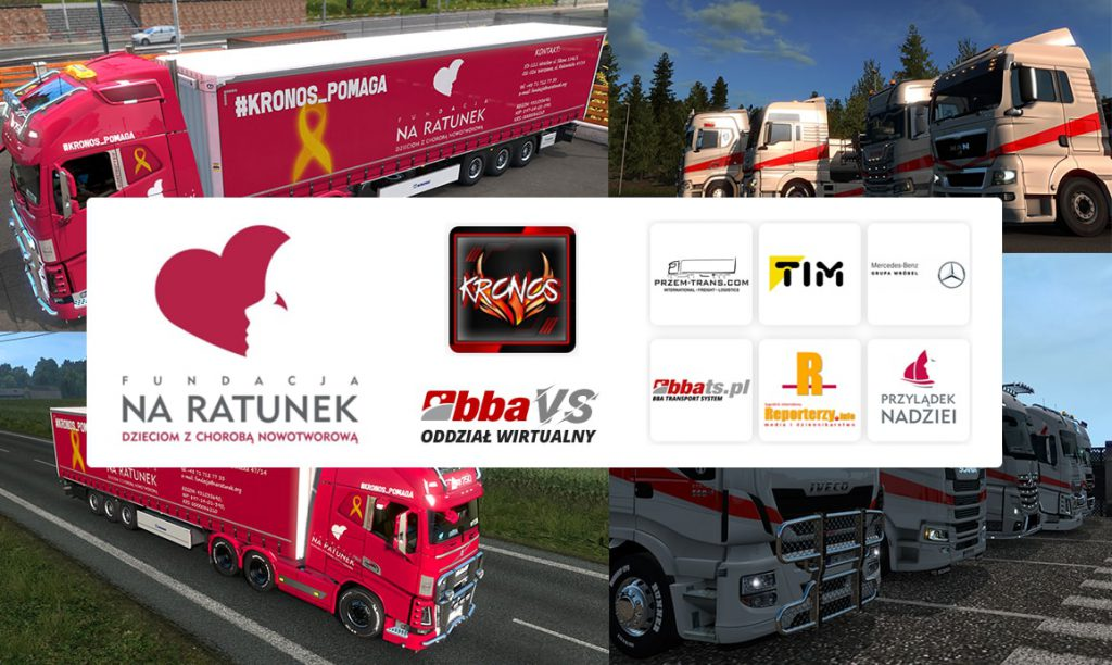 """Charytatywny stream """"Europejska podróż za jeden uśmiech"""" w grze Euro Truck Simulator 2. Grafika przedstawia organizatorów, partnerów i patronów wydarzenia."""