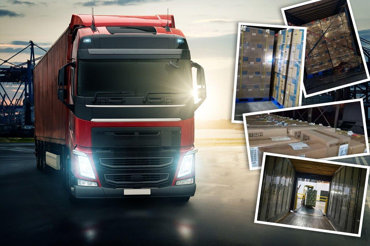 Transport drogowy z Chin. Grafika przedstawia ciężarówkę i załadunek podczas realizacji historycznego dla BBA Transport System transportu drogowego z Chin.